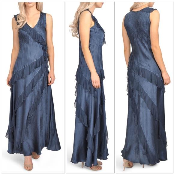 Komarov Dresses Asymmetrical Ruffle Charmeuse Gown Poshmark